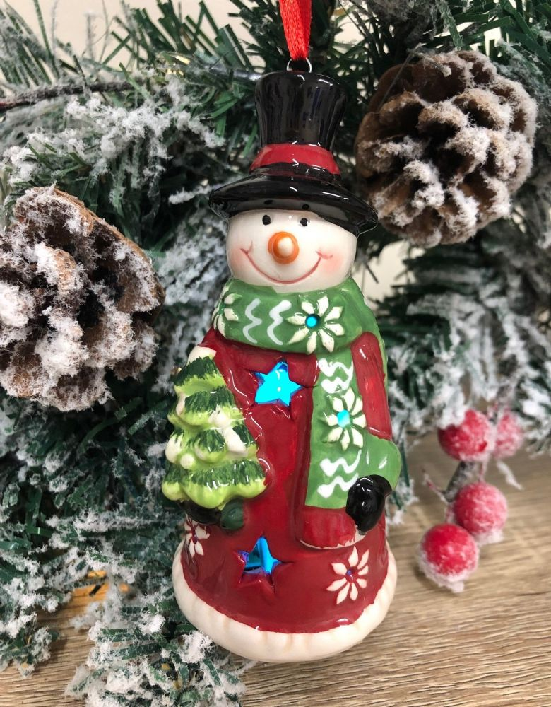 Flashing LED Snowman Hanging Ceramic Christmas Tree Decoration